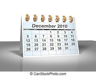 December 2010 Desktop Calendar (3D).