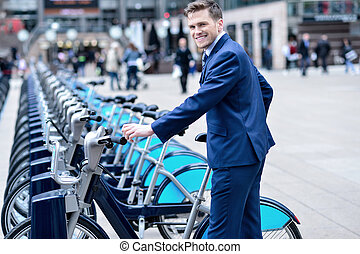 ビジネスマン, 自転車, 若い