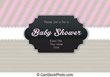 Baby shower card - Vector illustration (eps 10) of Baby...