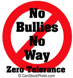 zero bullies - zero tolerance bullies poster red and black...