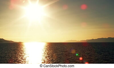 Sea sunset - Traveling on a ship at sunset near Peljesac...