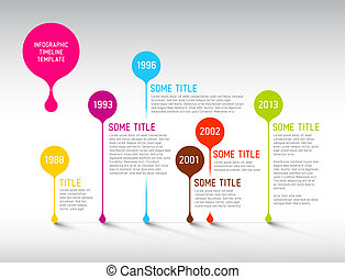 Colorful Infographic timeline report template with bubbles -...