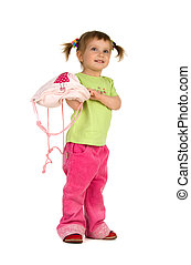 Cute little girl with pink knapsack