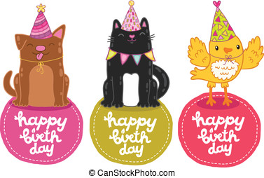 Happy Birthday labels with cat, dog and bird.