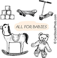 All for babies Set of hand drawn illustrations