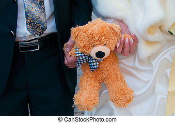 boda, pareja, teddy, oso