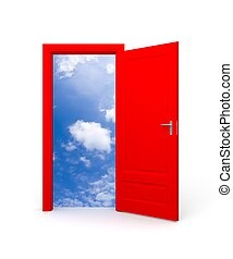 Door to sky - Conceptual image. Isolated on white