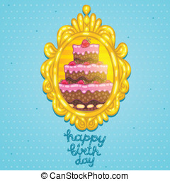 Happy Birthday card with cake in frame.