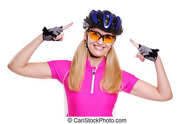 cyclist girl pointing to the helmet closeup white background...