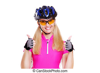cyclist girl showing thumbs up closeup white background