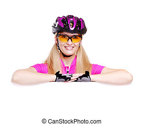 cyclist girl holding the blank closeup white background