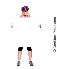 cyclist girl holding the blank full length white background