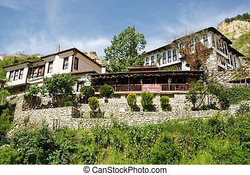 Street view of Melnik traditional architecture, Bulgaria -...