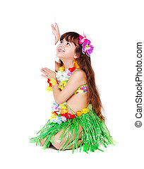girl wearing Hawaiian dress sitting on the floor