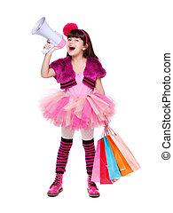 Retrato, shopping, menina, segurando, alto-falante