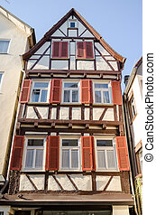 Street view of Tubingen old town, Germany