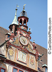 Detail of the old rathaus, Tubingen old town, Germany