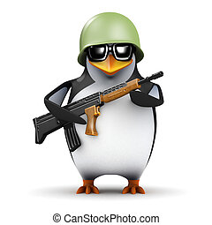 3d Soldier penguin - 3d render of a penguin in army uniform...