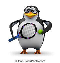 3d Tennis pro penguin - 3d render of a penguin holding a...