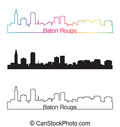 Baton Rouge skyline linear style with rainbow in editable...