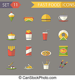 Retro Flat Fast Food Icons and Symbols Set Vector Illustration
