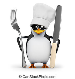 3d Penguin chef is ready for dinner - 3d render of a penguin...