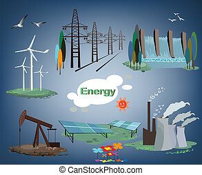 energy - set of production energy for the world