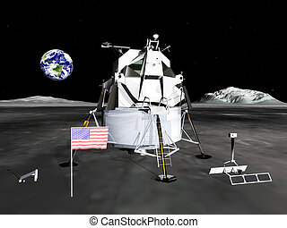 Lunar Module - Computer generated 3D illustration with the...