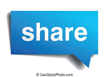 Share blue 3d realistic paper speech bubble isolated on...