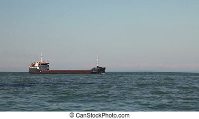 Bulk carrier ship sailing in the sea