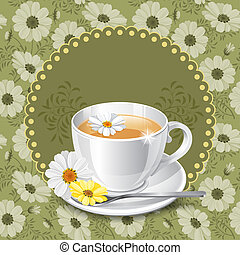 Tea time - Tea card template for restaurant, cafe, bar