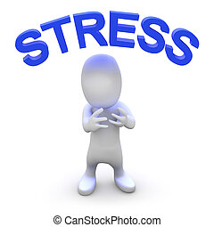 3d Stressed man - 3d render of a little person with the word...