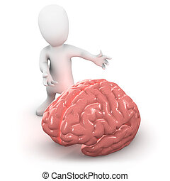 3d Brain man - 3d render of a little person next to a brain