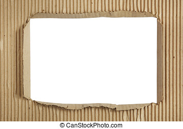 Square hole in a sheet of corrugated cardboard