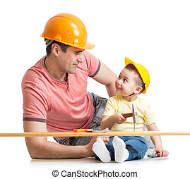 Father and son working together