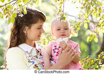 alergia, soprando, Ao ar livre, nariz, mãe, bebê