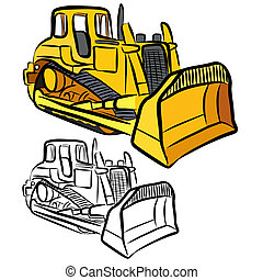 Bulldozer - Vector illustration : Bulldozer sketch on a...