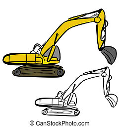 Excavator - Vector illustration : Excavator sketch on a...
