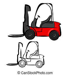 Forklifts - Vector illustration : Forklifts sketch on a...