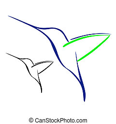 Hummingbird - Vector illustration : Hummingbird on a white...