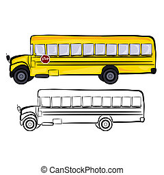 School Bus - Vector illustration : School Bus sketch on a...