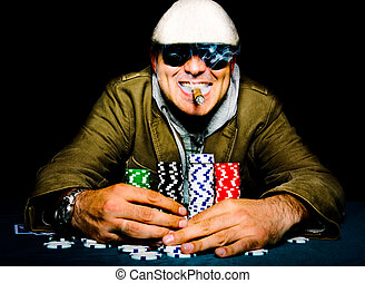 Poker happy face - Selective focus on the man head