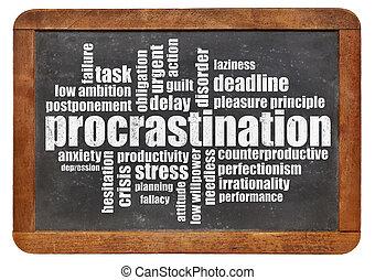 procrastination word cloud on a vintage blackboard isolated...
