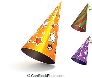 Party hat. Vector set illustration on white background