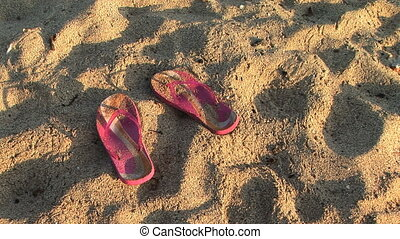 Pink Flip Flops - Pink sandals in the sand, Big Island,...
