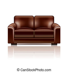 Brown leather sofa vector illustration