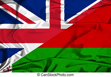 Waving flag of Belarus and UK