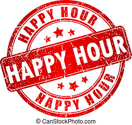 Happy hour stamp - Happy hour vector stamp