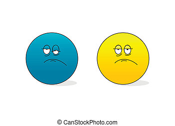 sad and tired emoticons editable vector illustration