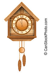Cuckoo clock - Vintage wooden cuckoo clock Isolated on white...